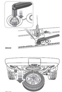 опускание запасного колеса