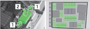 Крышка блока предохранителей в моторном отсеке/схематичное изображение блока предохранителей